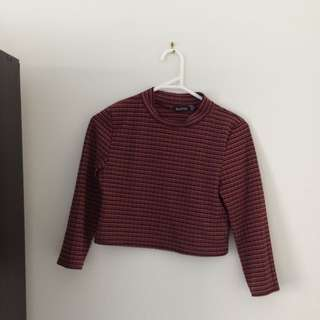 Red Striped Crop Long Sleeve