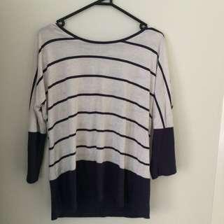 Striped Panel Long Sleeve Shirt
