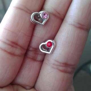 Double Colour Heart Earrings