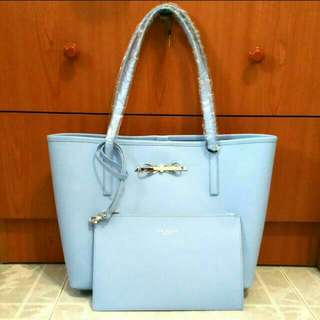 BNIB New And Authentic Ted Baker Isabow Crosshatch Leather Shopper In Blue