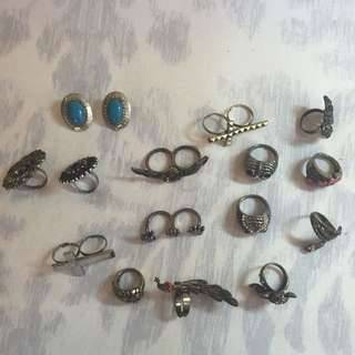 15 Pcs of Jewelry (Rings And Earrings)