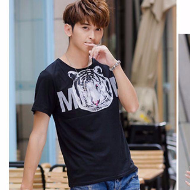 【🚚12h快速出貨】 男款老虎頭🐯印花短袖t卹-黑色L碼(中上質感)