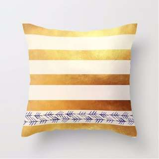 (READY STOCK) Gold Stripes Cushion Throw Pillow Cover
