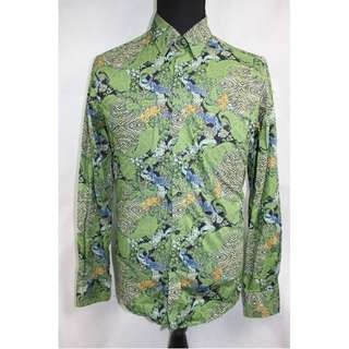 Mens David Smith Australia Long Sleeve Green Pattern Button Front Shirt Size L