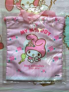 BNIP My Melody Large Big Drawstring Pouch Bag With Handle