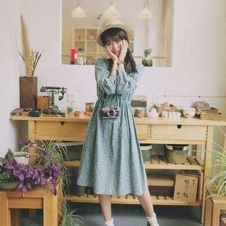 「ann's」長袖洋裝 連衣裙 古著風 小碎花