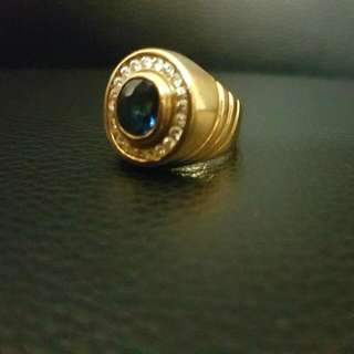 Men's 20k Gold Ring With Blue Sapphire And Diamond Setting (Reduced)