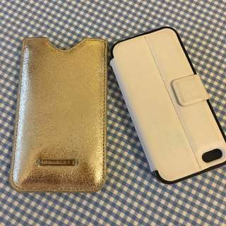 iPhone 5s Covers X2. Trenery Gold Leather Pouch And White Leather Flip Case