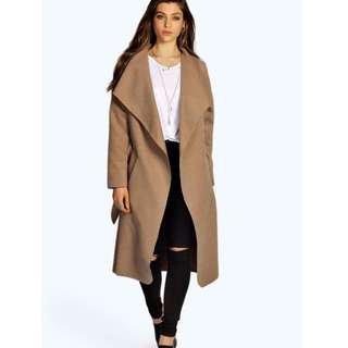 Camel Brown Belted Shawl Collar Coat