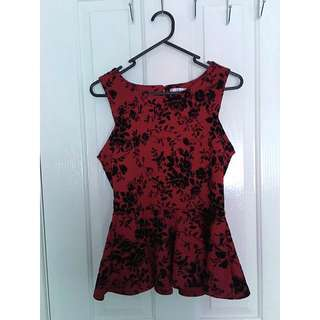 Valley girl Size 8 Peplum Formal Top