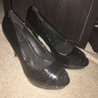 Edited Open Toe Black Heels Size 9