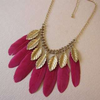 Gorgeous Bohemia Gold Plated Rose Pink Long Feather Necklace Women's Fashion
