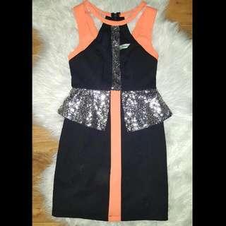 Black And Orange Mini Dress