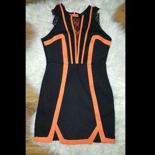 Black and Orange Lace Dress