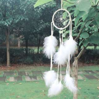 Large Long Dearm Catcher Soft Feather PU leather Circle Bead White