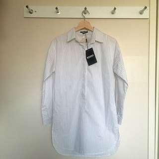 Misguided Striped Boyfriend Button-Up Shirt