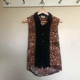 Subtitled Leopard Print Button Up Top