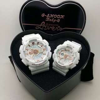 G-shock x baby-g white couple set with box
