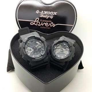 G-shock x baby-g black couple set with box
