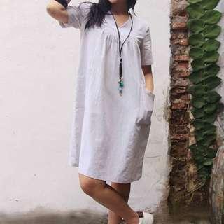 Linen Dress Asli Jogja
