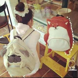 日系熱賣款 超萌 超可愛 柴犬 巴戈 巴哥 狗狗 立體造型 後背包 雙肩包 書包 背包