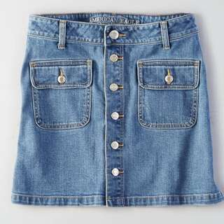 AE Denim Button Front Skirt