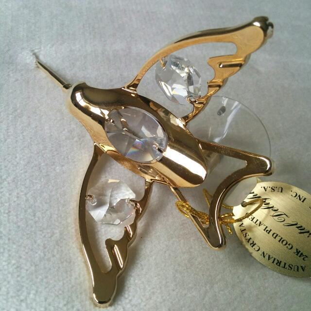 24K Gold Plated Austrian Crystal Decorative Figurine Bird