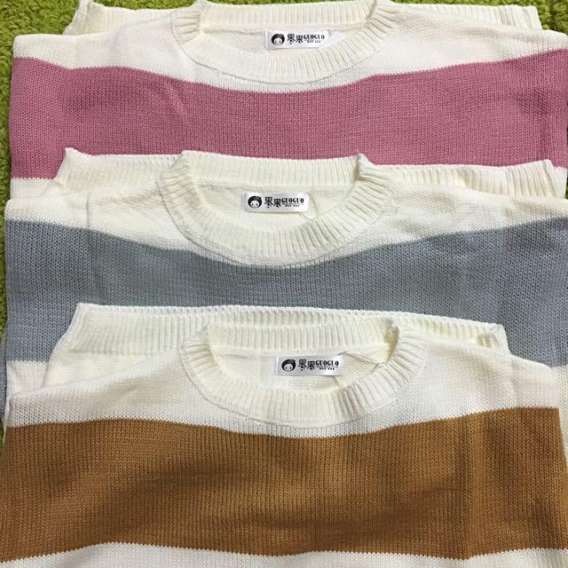 🔴郵寄免運🔴條紋寬袖顯瘦毛衣/3色