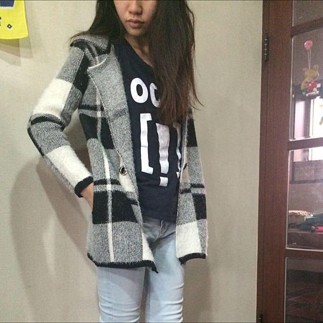 格紋毛料外套