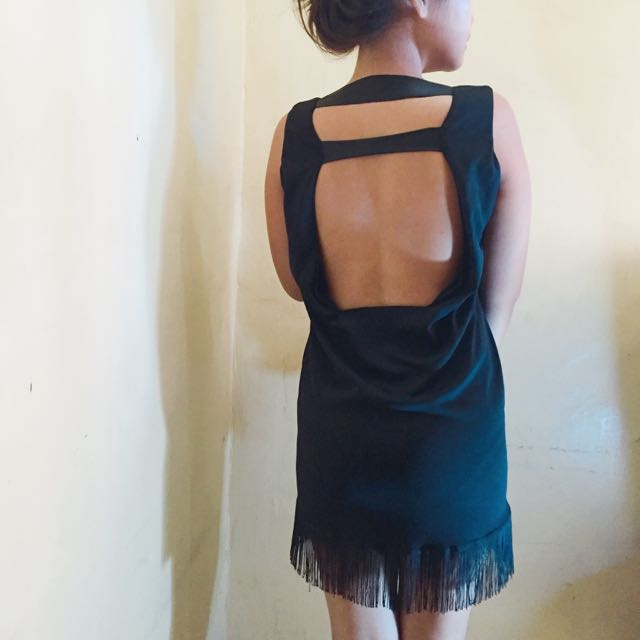 Black Backless Party Dress With Tassel Skirt