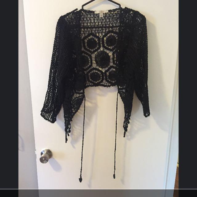 Black Crotchet Cardigan
