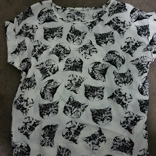 Cute Cat White Blouse Shirt Top Womens Size 8 10 Small