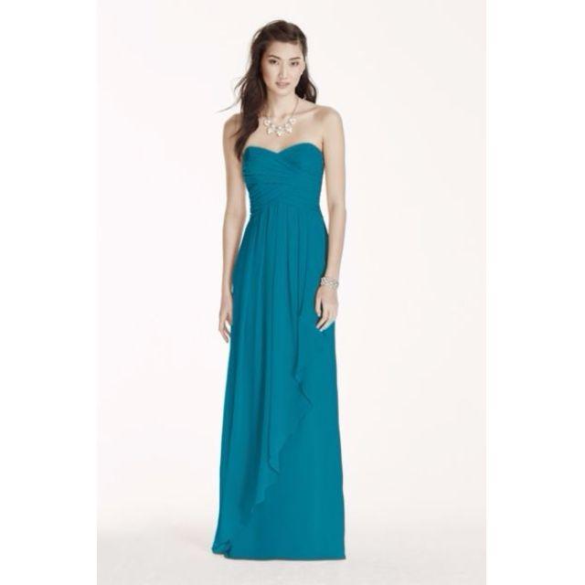 David's Bridal Strapless Chiffon Dress with Cascade Skirt