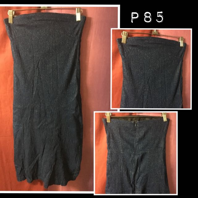 Denim-material with glitters tube dress