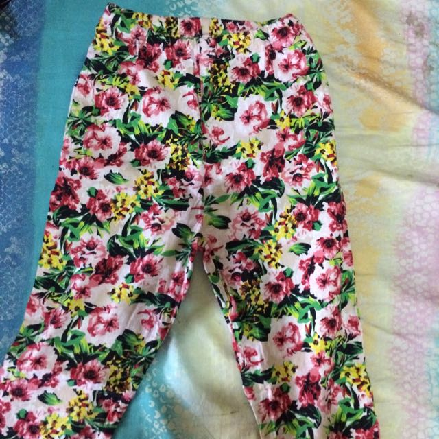 Flower cotton pants
