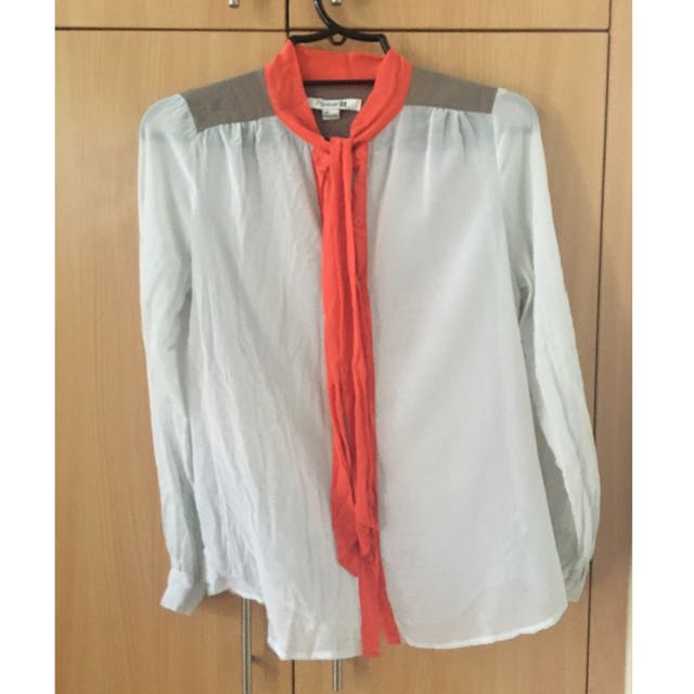Forever21 White And Orange Top (Small)