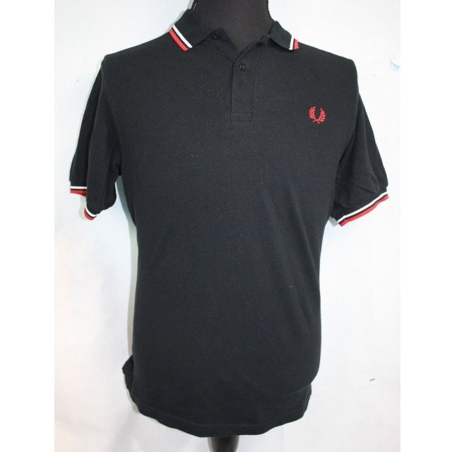 FRED PERRY POLO SHORT SLEEVE SHIRT MEN'S SIZE MEDIUM BLACK RED