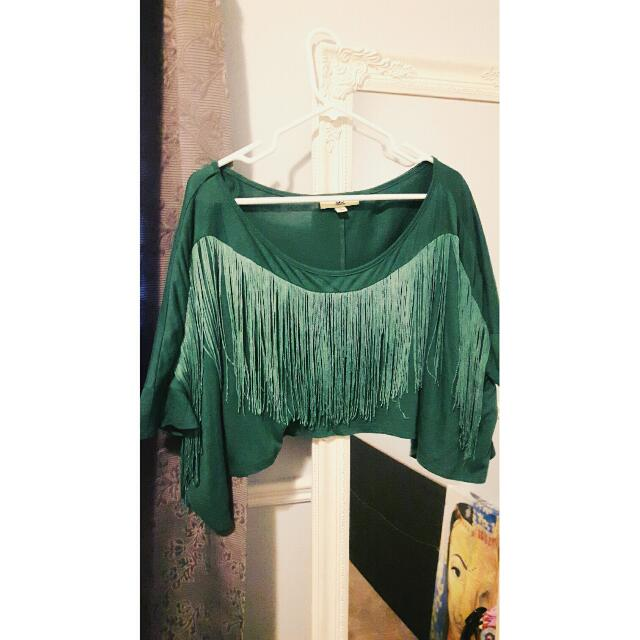 Fringed Green Crop Top