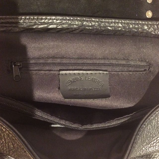 Genuine Leather Black Bag Made In Italy