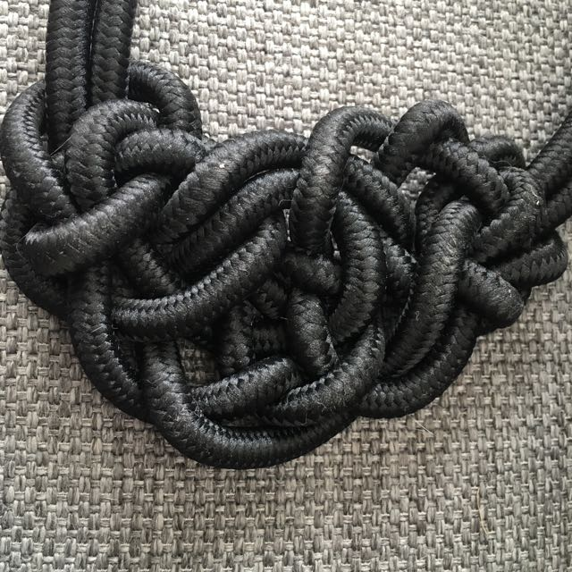 Gorgeous Black Rope Pretzel Necklace