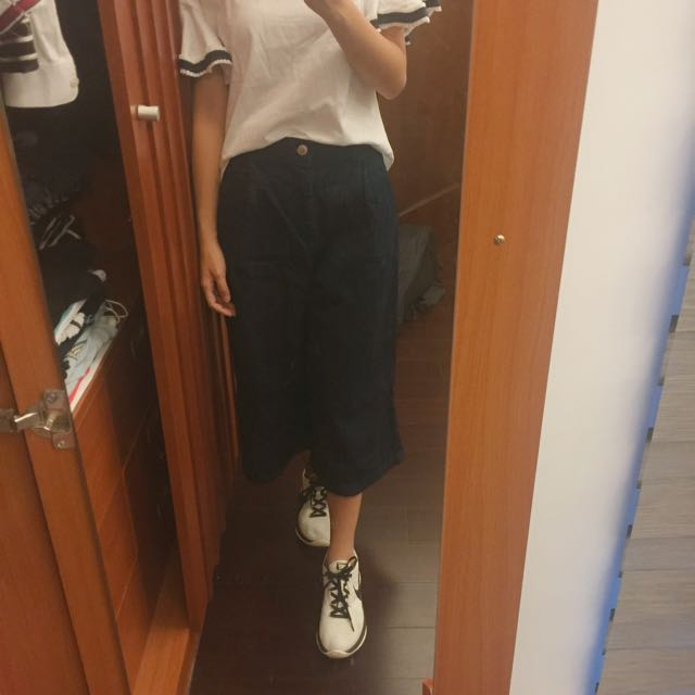 GU牛仔寬褲