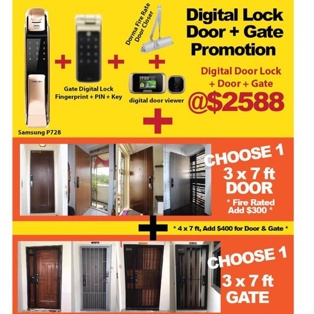 Hdb door and gate promotion with the latest Samsung and Yale digital lock  call 94662710