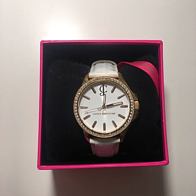 Juicy Couture White Leather And Gold Watch