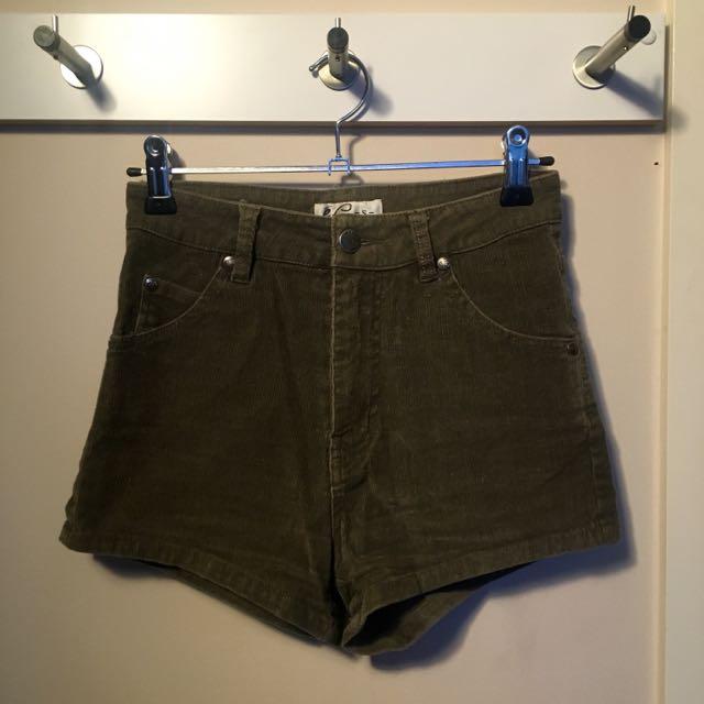 High Waisted Khaki Corduroy Shorts