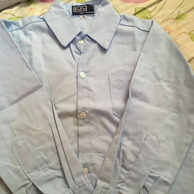 light blue long sleeves polo
