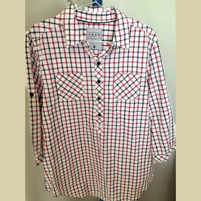 LOGO women long sleeves shirt checkered pattern kemeja lengan panjang wanita
