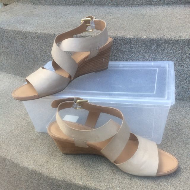 Nude Strappy Wedge Sandals
