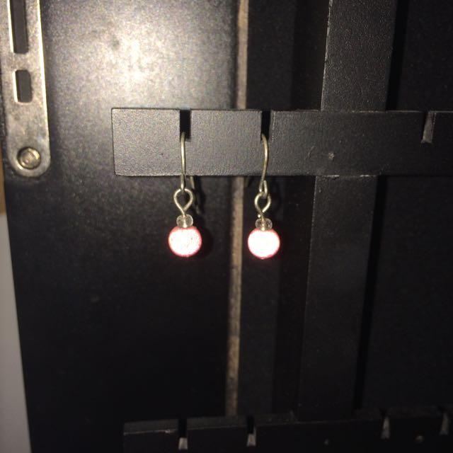 Pink Ball Earings
