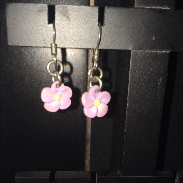 Purple Flower Earings