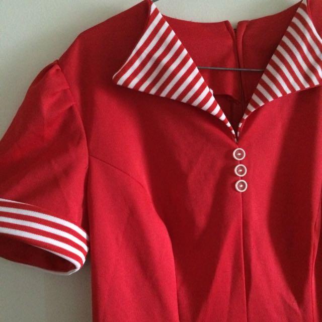 Red Vintage Dress Size 10-12